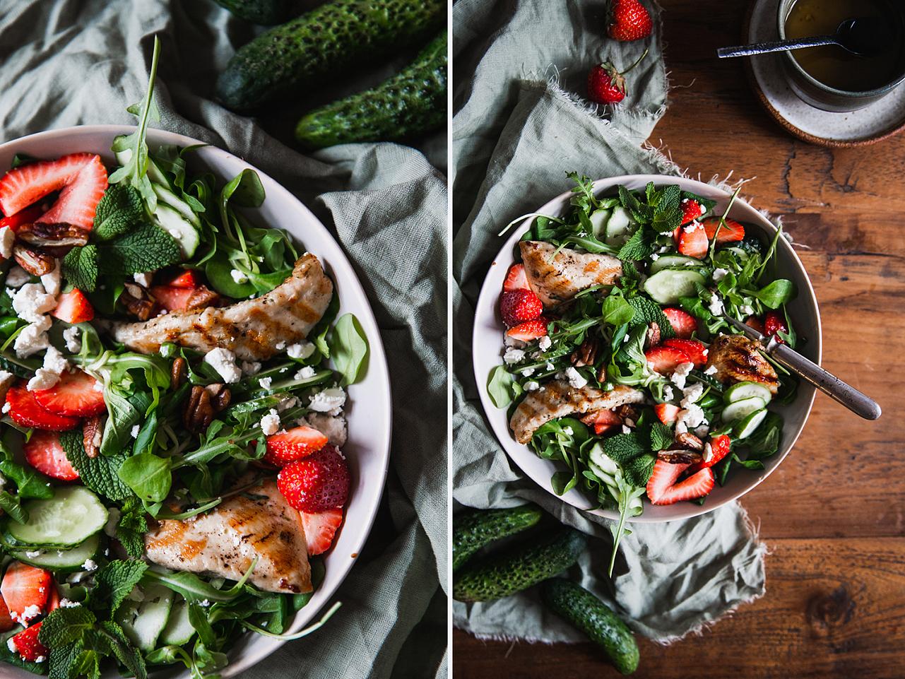 Letní salát s jahodami a fetou