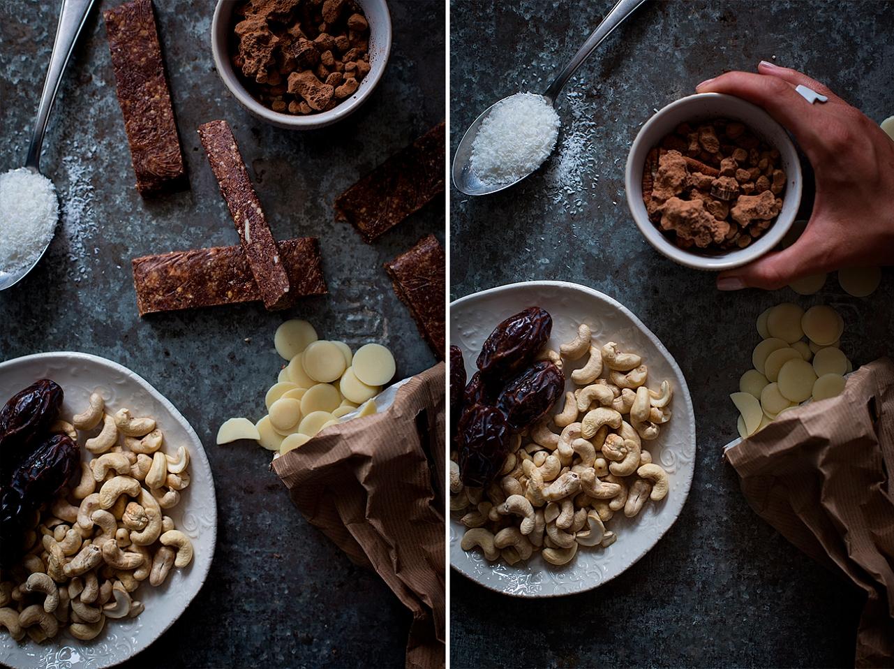 Domácí energetické raw tyčinky - kešu, datle, kakaové máslo