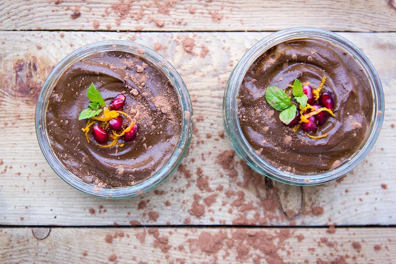 Avokádový čokoládový krém - avokádo, banán, máta