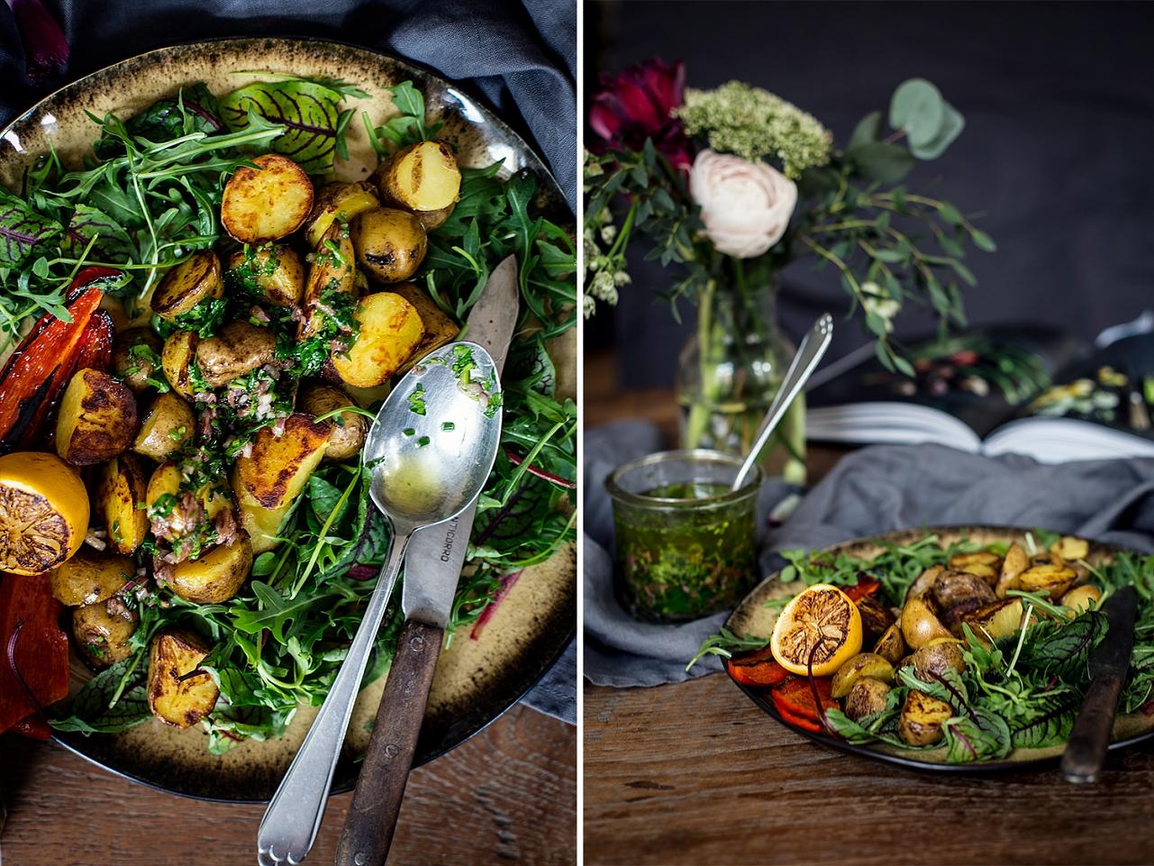 Jarní bramborový salát a bylinkový dresink s ančovičkami