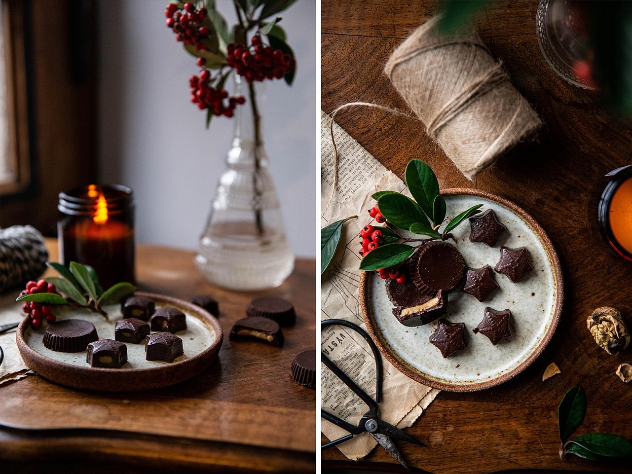 Čokoládovo arašídové vánoční bonbóny