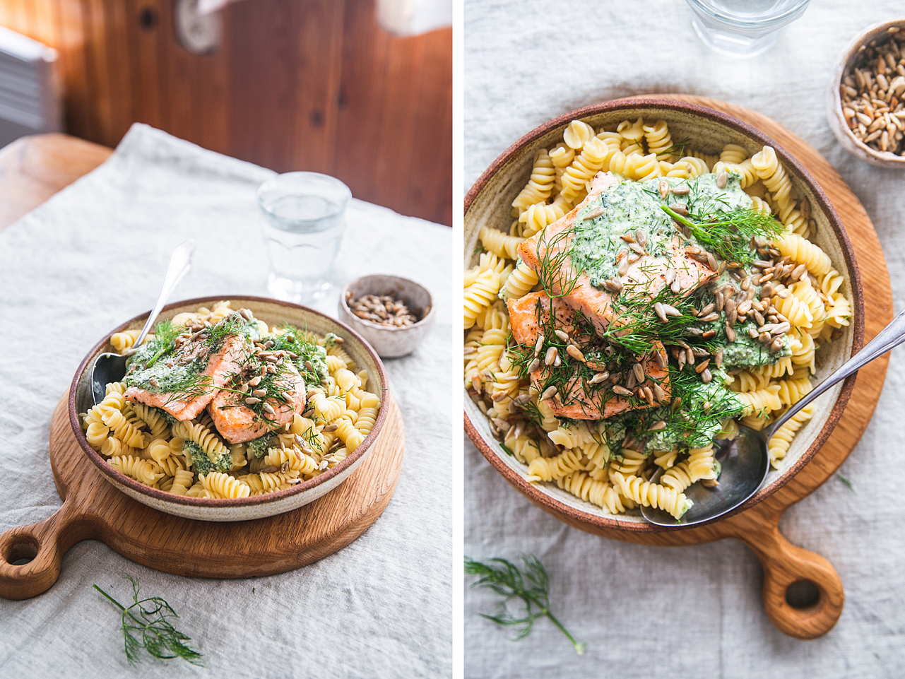 Těstoviny s dipem z fety/balkánského sýru s lososem